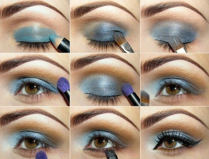 Нанесение синего макияжа