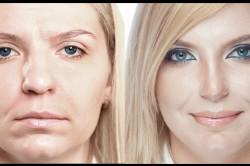 Пример макияжа, корректирующего большой нос