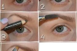 Этапы окраски бровей карандашом