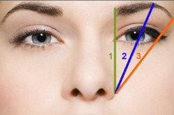 Схема определения идеального изгиба бровей
