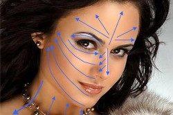 Линии нанесения тонального крема для греческого макияжа