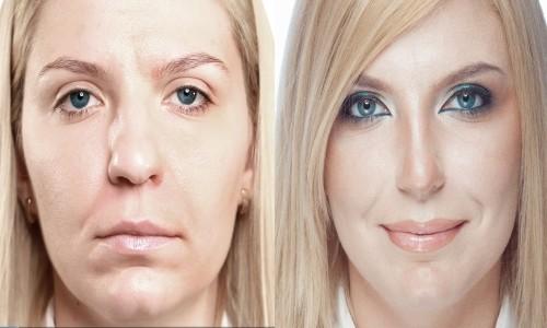 Эффект при использовании макияжа