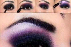 Схема 1. Макияж смоки айс в фиолетовых тонах