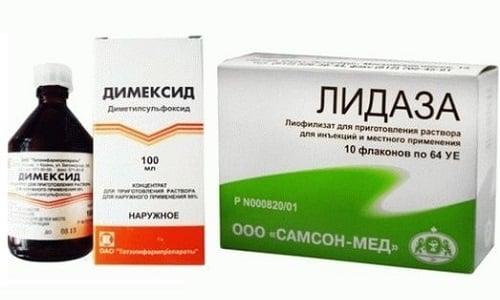 Для снятия воспаления при различных состояниях и патологиях используются препараты Димексид и Лидаза