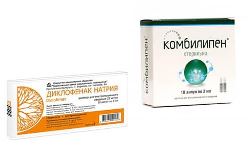 Комбилипен и Диклофенак используются при остеохондрозе, тяжелых травмах, радикулите, варикозе и поражении нервной ткани