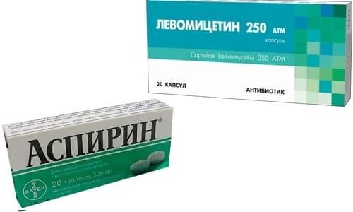 Левомицетин и Аспирин применяют для лечения поражения эпидермиса и акне