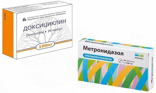 Доксициклин и Метронидазол относятся к средствам антибактериального воздействия