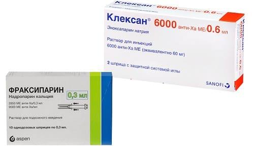 Для предупреждения развития тромбоза пациентам могут назначаться лекарства Фраксипарин или Клексан