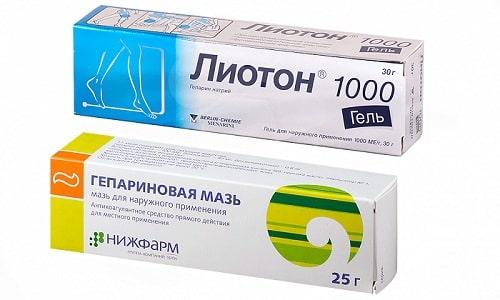 При варикозной болезни и поверхностном тромбозе часто назначается Лиотон гель или Гепариновая мазь