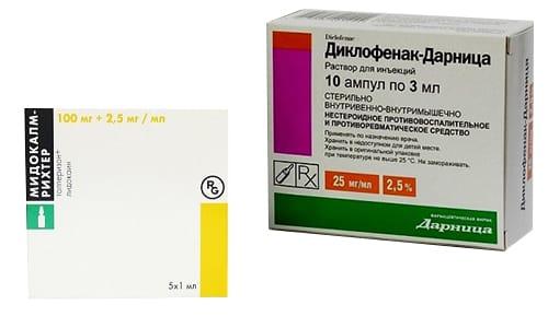 Медикаменты Диклофенак и Мидокалм избавляют от болевых синдромов различного происхождения за короткий период