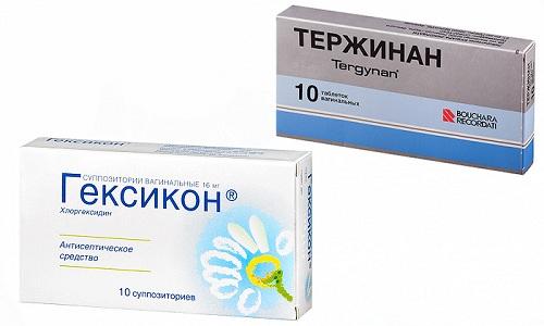 Лечить гинекологические инфекционные патологии можно препаратами Тержинан или Гексикон